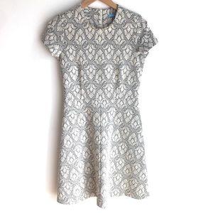 J. McLaughlin Ivory/Black Textured A-Line Dress